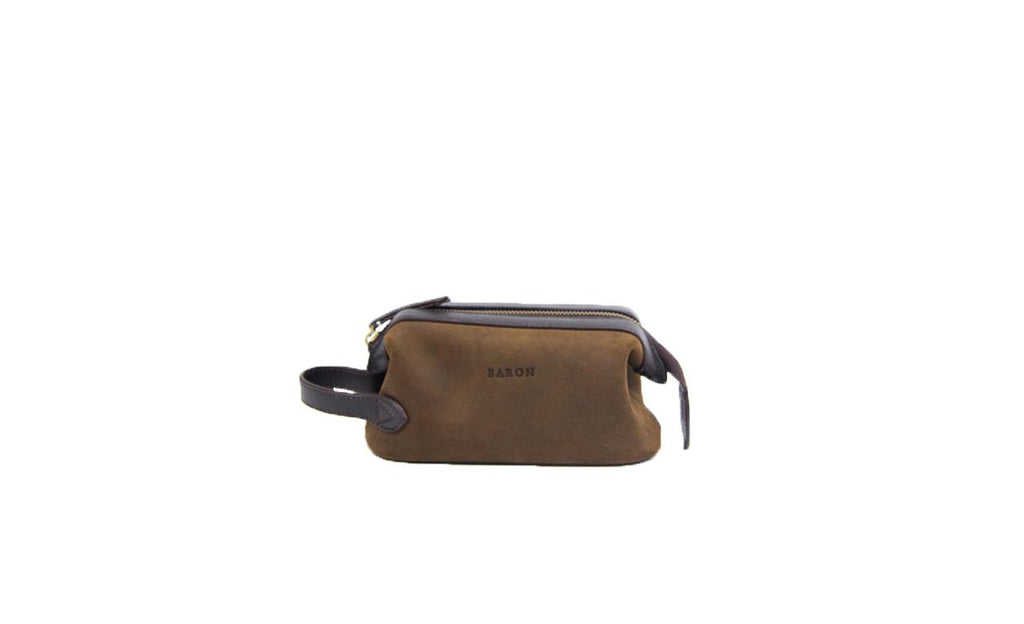 Baron Small Suede Wash Bag-Bags-Classic fashion CF13-Brown-Classic fashion CF13