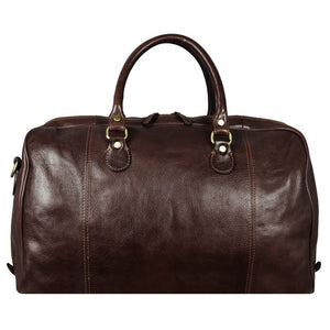 DARK BROWN LEATHER DUFFEL BAG - MONTE CRISTO
