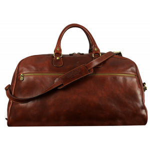 BROWN LEATHER DUFFEL BAG - FEAR AND LOATHING IN LAS VEGAS