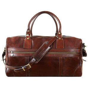 BROWN LEATHER DUFFEL BAG - TO THE LIGHTHOUSE