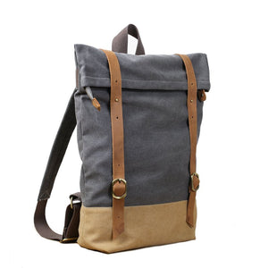 CF13 HANDMADE CANVAS LEATHER BACKPACK-Bags-Classic Fashion CF13-Classic fashion CF13