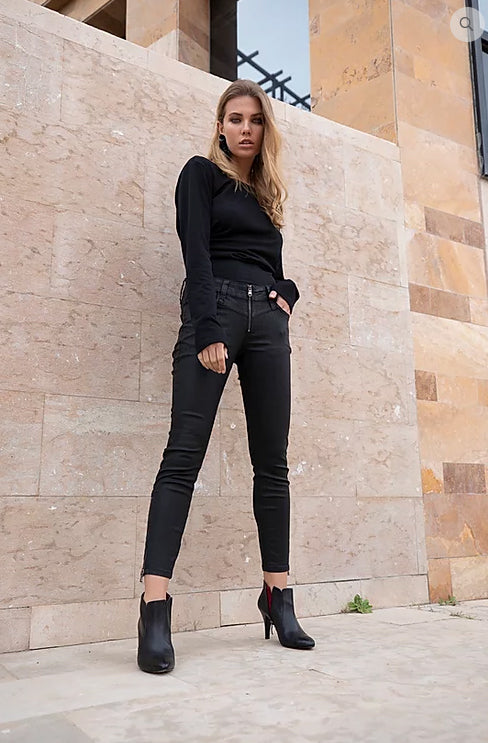O-KITE' COATED BIKER JEANS