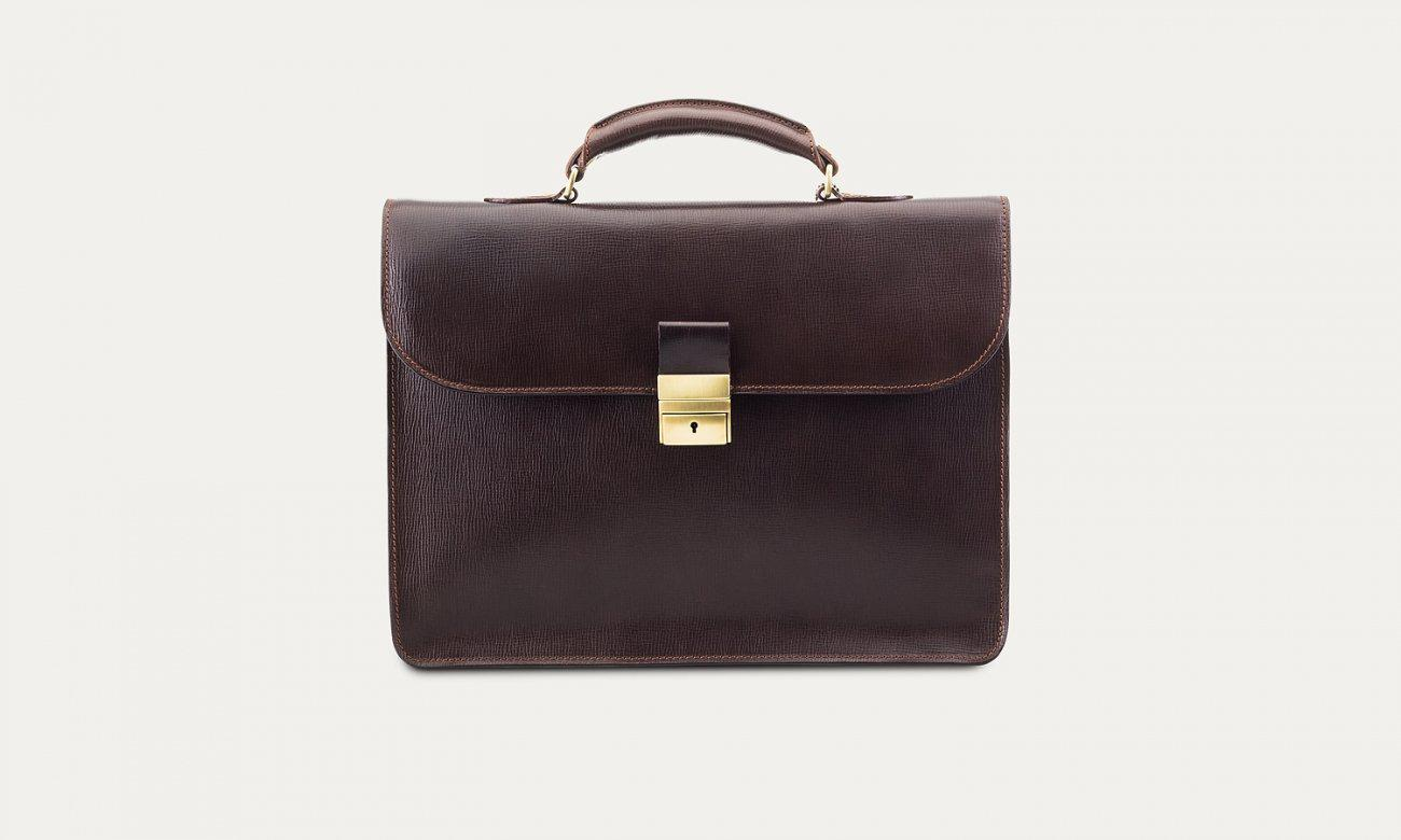 Baron Light Leather Briefcase-Bags-Classic fashion CF13-Brown-Classic fashion CF13