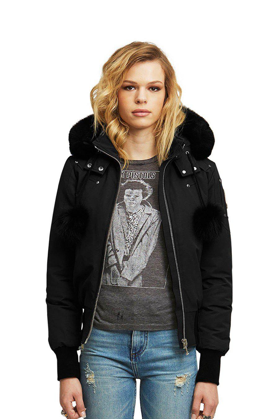 Moose Knuckles Debbie Bomber Jacket-Jackets-Classic fashion CF13-XS-Black-Classic fashion CF13