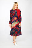 Paisley printed midi collared dress