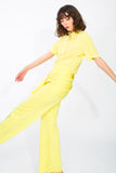Canary yellow wide leg pants