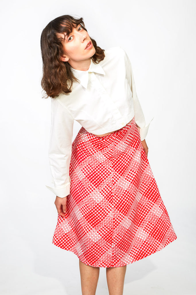 Red skirt with geometrical patterns
