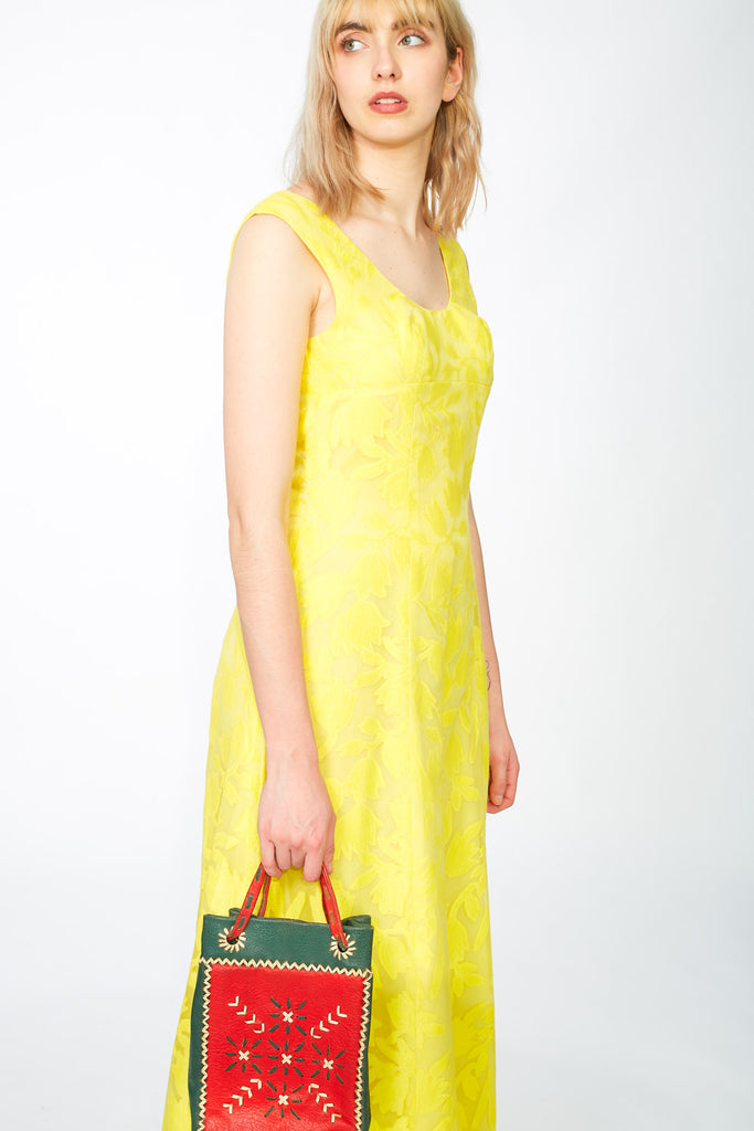 Yellow jacquard maxi dress