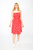 Red button up summer dress