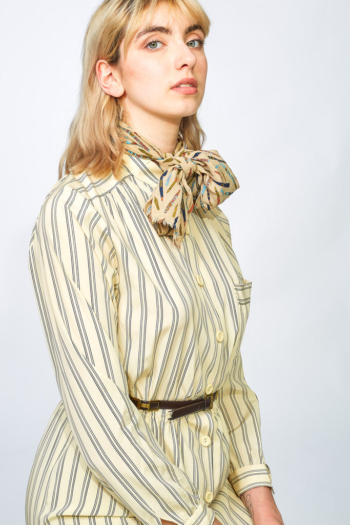 60s button up striped dress