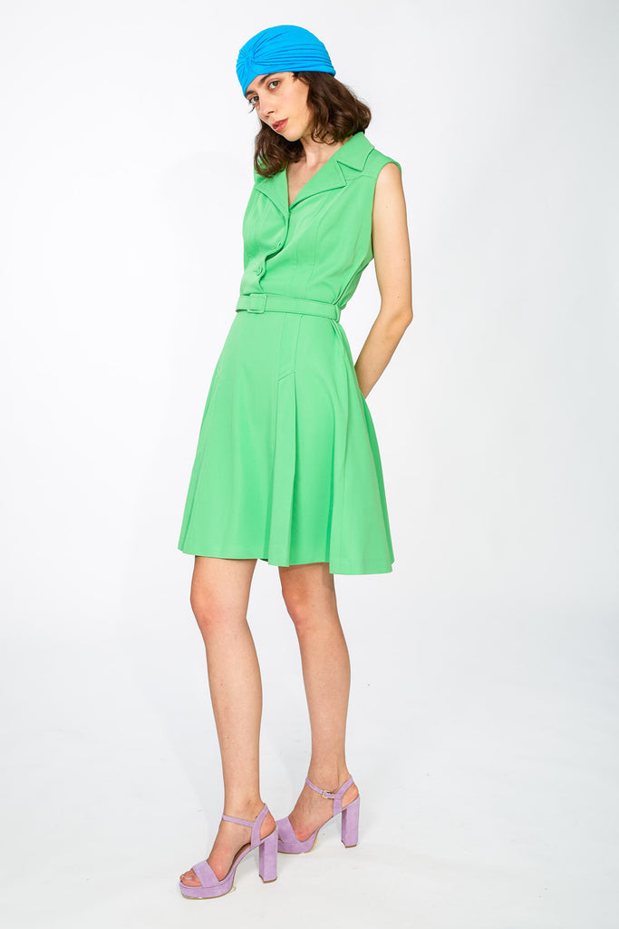 Neon green collared dress