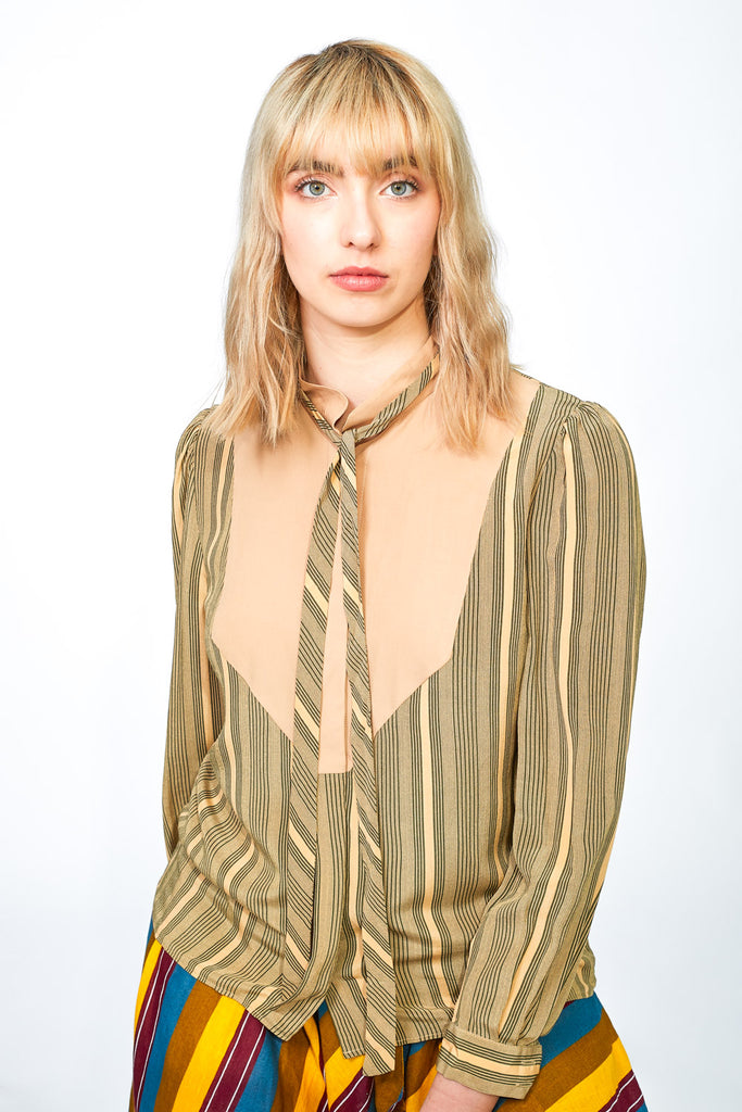Striped shirt in earth tones