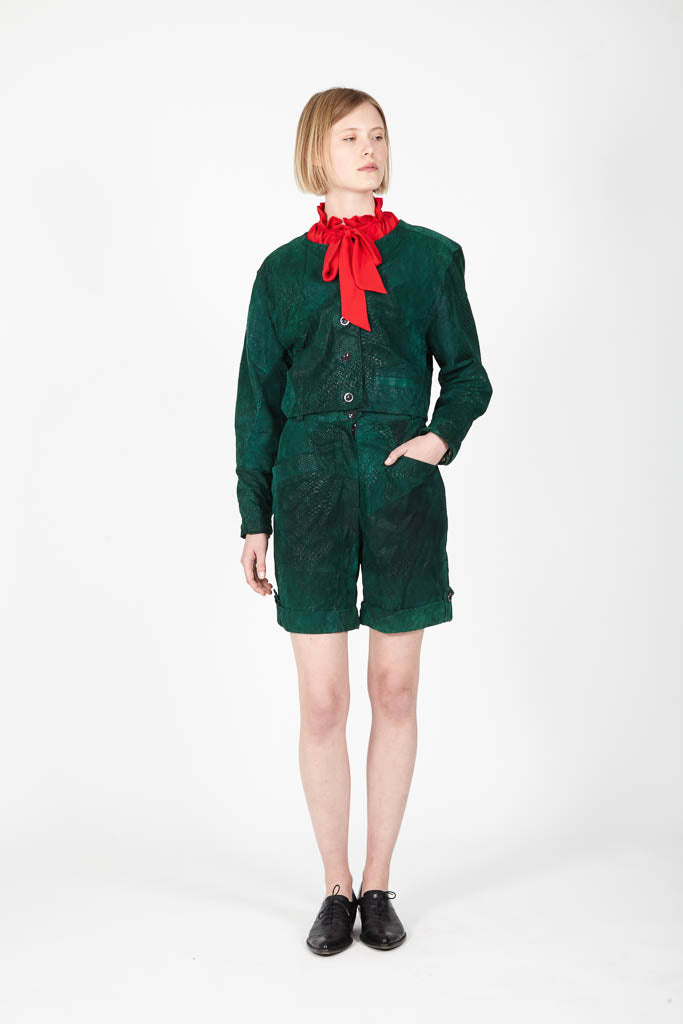 Green leather set - 80s jacket/ shorts