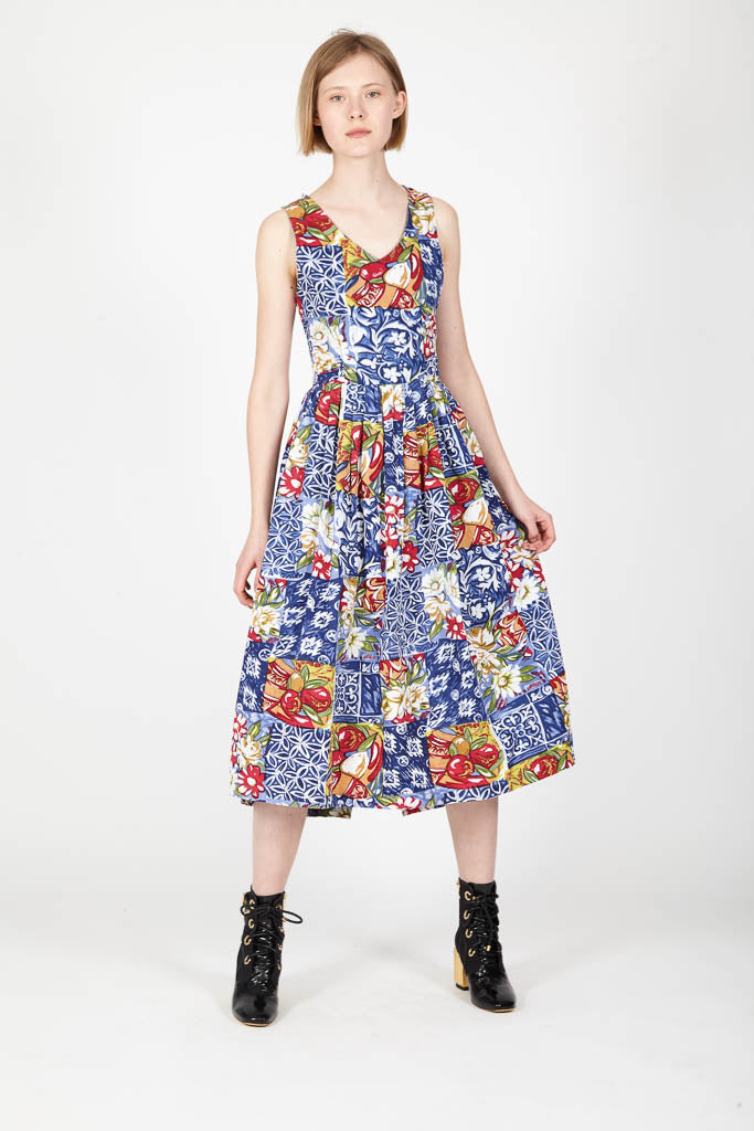 Summer dress with Sicilian pattern