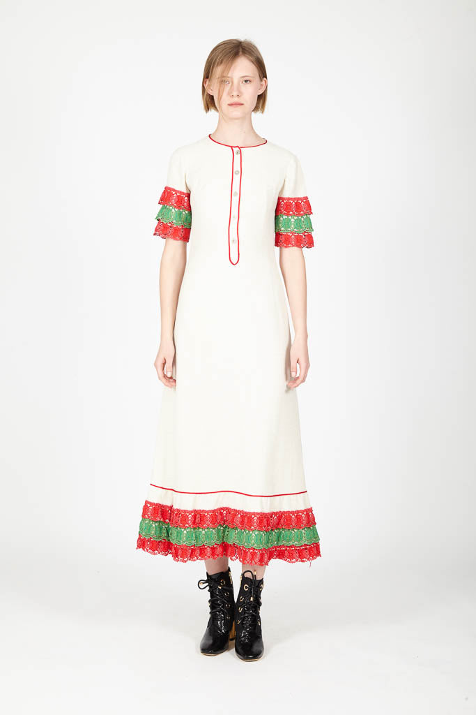 Dress with colour fringes