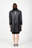 Balmain leather coat with fur collar