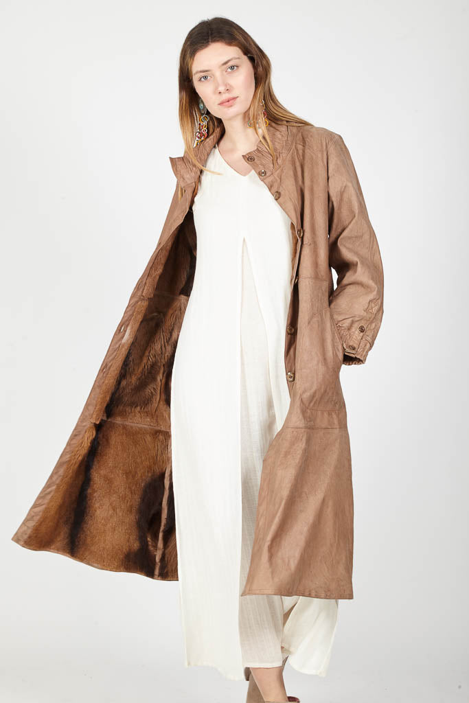 Antelope leather coat with fur lining