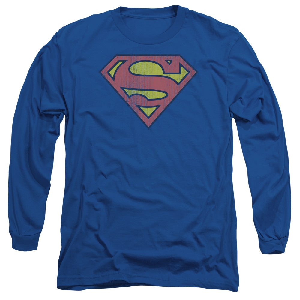 Dc - Retro Supes Logo Distressed Long Sleeve Adult 18/1