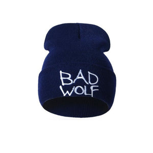 Fashion Bad wolf Letters Embroidery Hat 2017 Winter Warm Caps For Men Women Solid Wool Knitted Unisex Hats Beanies