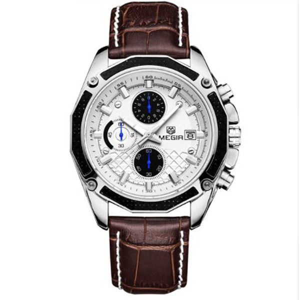 Men Watches Fashion Genuine Leather Chronograph Watch Clock for Gentle Men