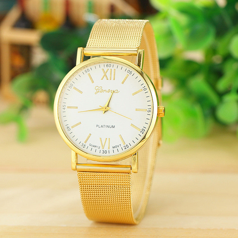 Fashion Gayly Women Girls Gold Geneva Quartz Stainless Steel Wrist Watch