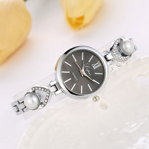Fashion Women Stainless Steel Crystal Dial Quartz Bracelet Luxury Wrist Watch