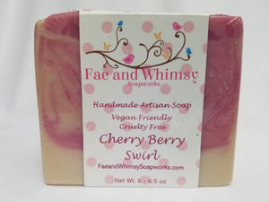 Cherry Berry Swirl Handmade Soap scented with black cherry, strawberry, and vanilla bean by Fae and Whimsy Soapworks
