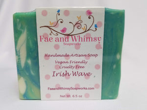 Irish Wave Handmade Soap scented with a crisp citrus zest, jasmine, lily, and musk by Fae and Whimsy Soapworks