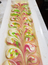 Load image into Gallery viewer, Crisp Anjou Pear Handmade Soap - Crisp, sweet, and fresh is the perfect way to describe the scent of this soap.  If you are a fan of light, fruity fragrances, this one is for you!  Ingredients:  Olive Oil, Coconut Oil, Organic Palm Oil (ethically and sustainably sourced), Water, Sodium Hydroxide, Shea Butter, Sweet Almond Oil, Meadowfoam Oil, Castor Oil, Fragrance, Kaolin Clay, Skin-Safe Colorants