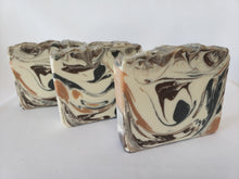 Load image into Gallery viewer, Bay Rum Handmade Soap - Classic cologne aftershave scent with Allspice, capers, cloves, nutmeg, crushed orange, pine needles, and a touch of patchouli and vanilla.  Ingredients:  Olive oil, coconut oil, organic palm oil, water, sodium hydroxide, shea butter, sweet almond oil, meadowfoam oil, caster oil, fragrance, kaolin clay, skin-safe colorants