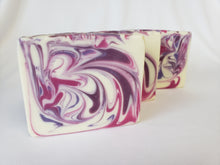 Load image into Gallery viewer, Black Cherry Handmade Soap - A fabulous smelling soap with just the right mix of cherry, almond, and orange with a touch of cimmanom to add depth.  Ingredients:  Olive oil, coconut oil, organic palm oil, water, sodium hydroxide, shea butter, sweet almond oil, meadowfoam oil, caster oil, fragrance, kaolin clay, skin-safe colorants