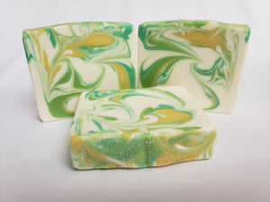 Agave Lime Handmade Soap - Lemon, lime, and orange create an exotic scent that you are sure to love.  It's tropical, fruity, and full of citrus.  Ingredients:  Olive oil, coconut oil, organic palm oil, water, sodium hydroxide, shea butter, sweet almond oil, meadowfoam oil, caster oil, fragrance, kaolin clay, skin-safe colorants