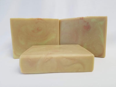 Green Tea Handmade Soap - An absolutely wonderful soap scent - light and clean with the aroma of warm steeping green tea leaves.  Ingredients:  Coconut Oil, Organic Palm Oil (ethically and sustainably sourced), Water, Olive Oil, Rice Bran Oil, Sodium Hydroxide, Meadowfoam Oil, Sweet Almond Oil, Castor Oil, Fragrance, Kaolin Clay, Skin-Safe Colorants