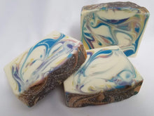 Load image into Gallery viewer, Hello Sweetie Handmade Soap - A lovely blend of raw turbino sugar, lemon zest, meringue, whipped cream, and Madagascar Vanilla.  This scent is hard to describe and even harder to resist!  Ingredients:  Olive Oil, Coconut Oil, Organic Palm Oil (ethically and sustainably sourced), Water, Sodium Hydroxide, Shea Butter, Meadowfoam Oil, Sweet Almond Oil, Castor Oil, Fragrance, Kaolin Clay, Skin-Safe Colorants