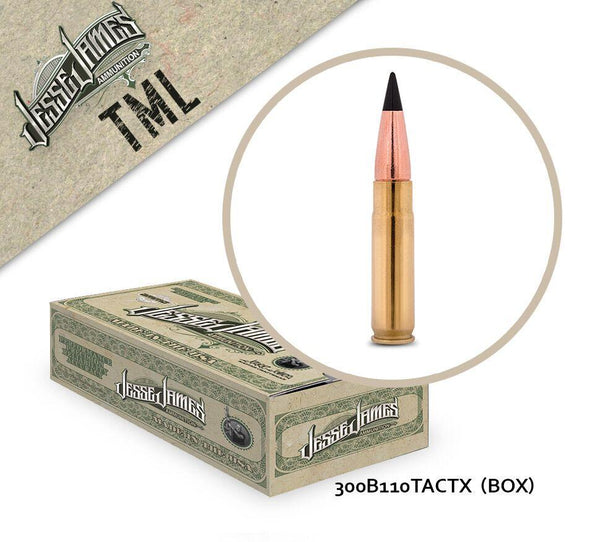 Jesse James 300 Blackout 110gr TACTX Box of 20 Rounds