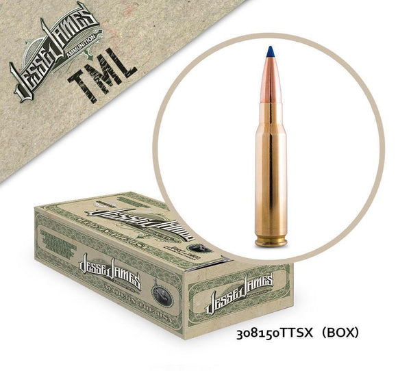 Jesse James 308 Win 150gr Barnes Tipped TSX BT Box of 20 Rounds