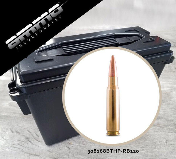 Ammo, Inc. 308 Winchester 168 gr Boat Tail Hollow Point Processed Brass Ammo Can - Case of 120