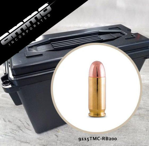 Ammo Inc 9mm 115gr Total Metal Processed Brass Ammo Can of 200 Rounds