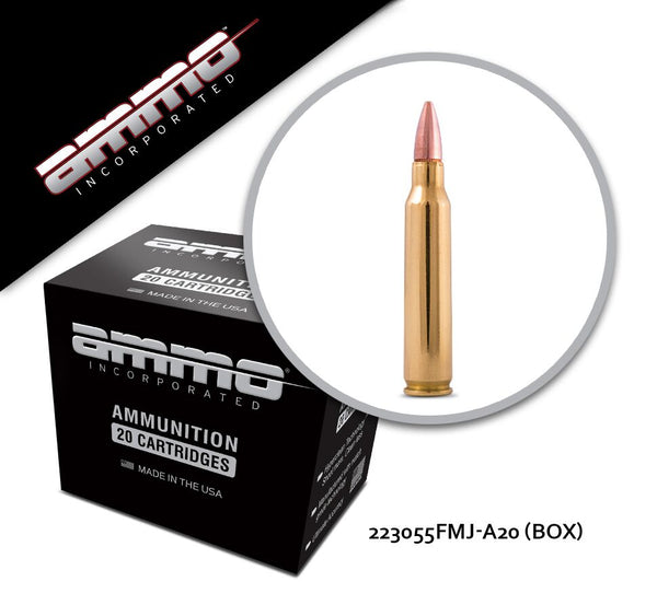 Ammo Inc 223 Rem 55gr Full Metal Jacket Box of 50 Rounds