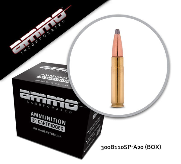Ammo, Inc. 300 Blackout 110 gr Soft Point Signature Line - Box of 20