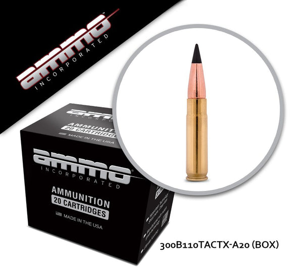 Ammo Inc 300 Blackout 110gr TACTX Box of 20 Rounds