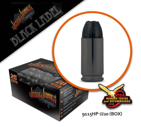 Jesse James Black Label 9 mm Luger 115 gr Hollow Point  - Box of 20