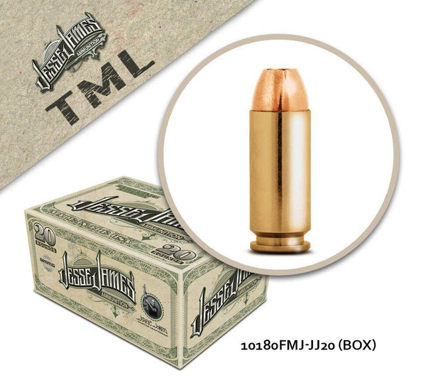 Jesse James 10mm Auto 180gr Full Metal Jacket Box of 20 Rounds