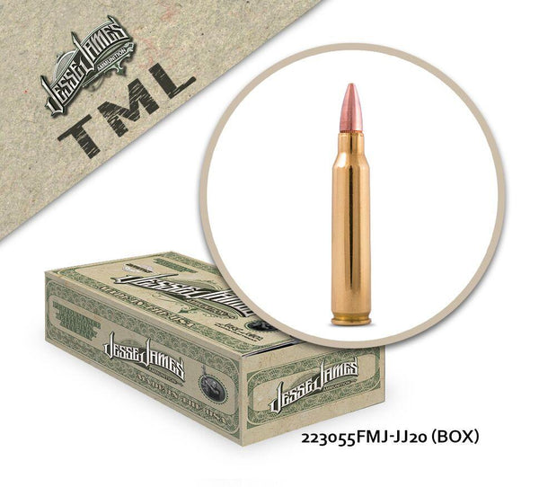 Jesse James TML 223 Remington 55 gr Full Metal Jacket  - Box of 20