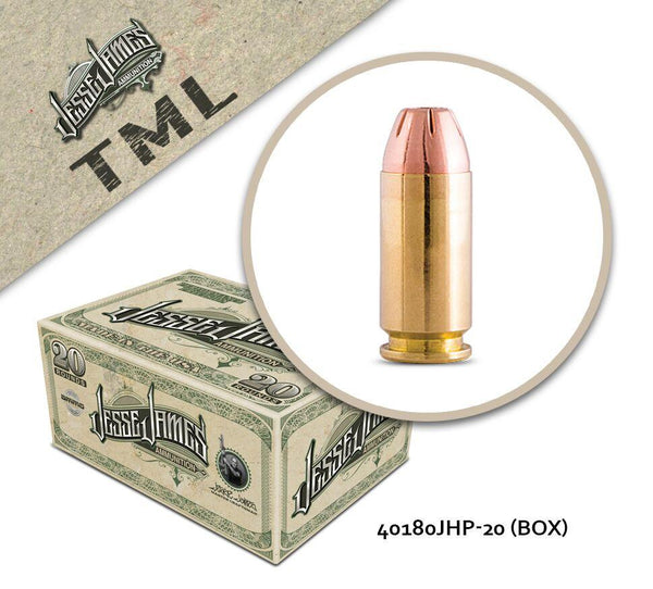 Jesse James TML 40 S&W 180 gr Jacketed Hollow Point  - Box of 20