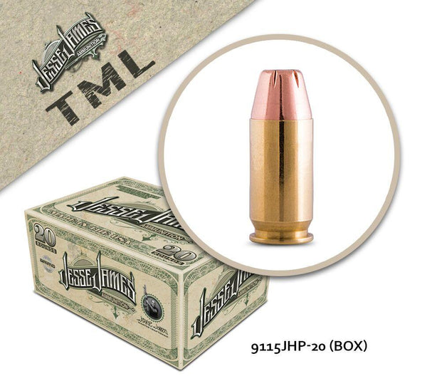 Jesse James 9mm Luger 115gr Jacketed Hollow Point Box of 20 Rounds