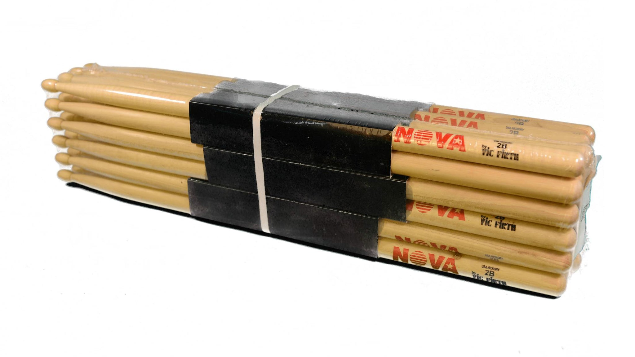 (12-Pairs) Vic Firth® NOVA® 2B Hickory Drumsticks, Wood Sticks, Wood Tip. #N2B