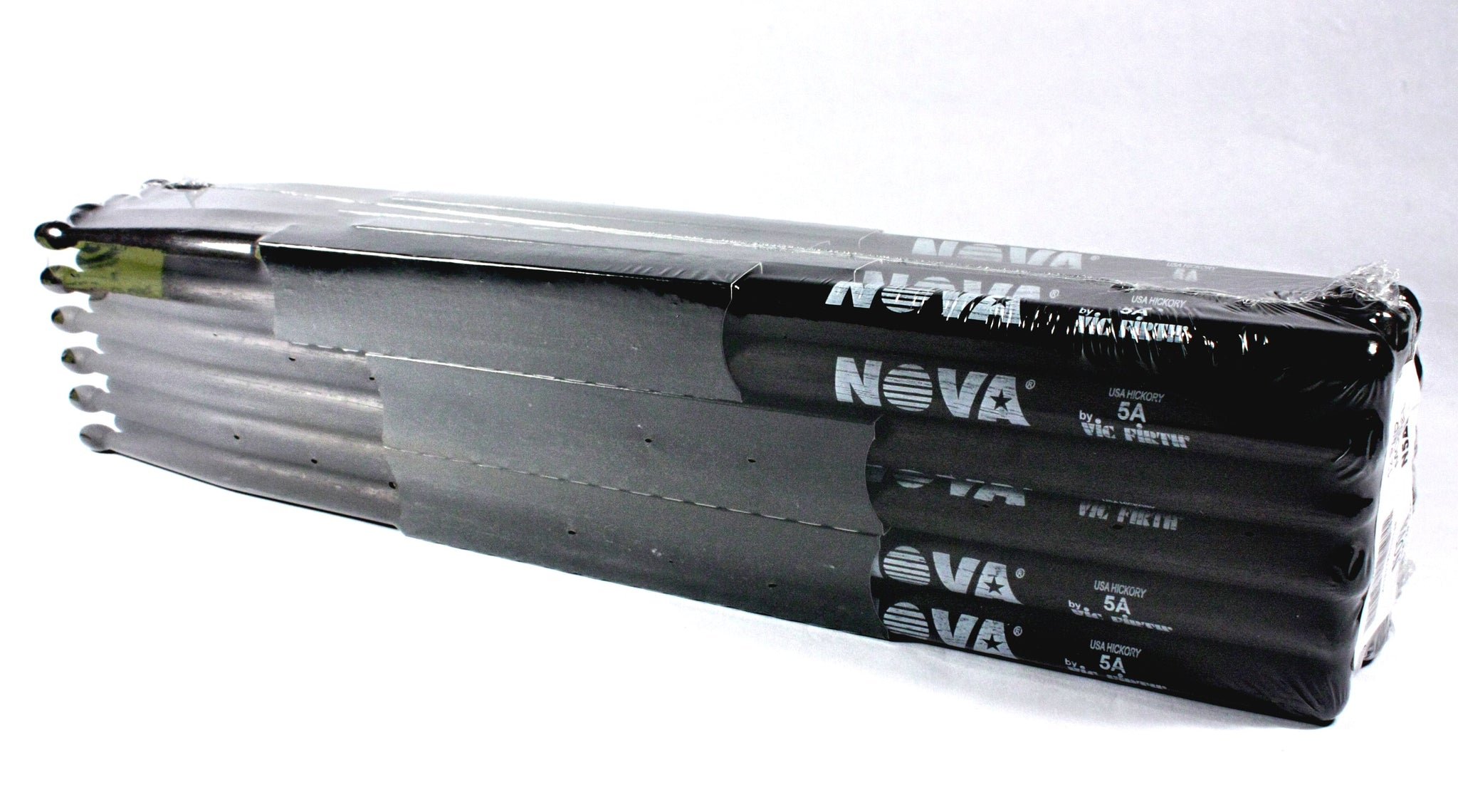 (12-Pairs) Vic Firth® NOVA® 5A Hickory Drumsticks, Black Sticks, Black Wood Tip. #N5AB