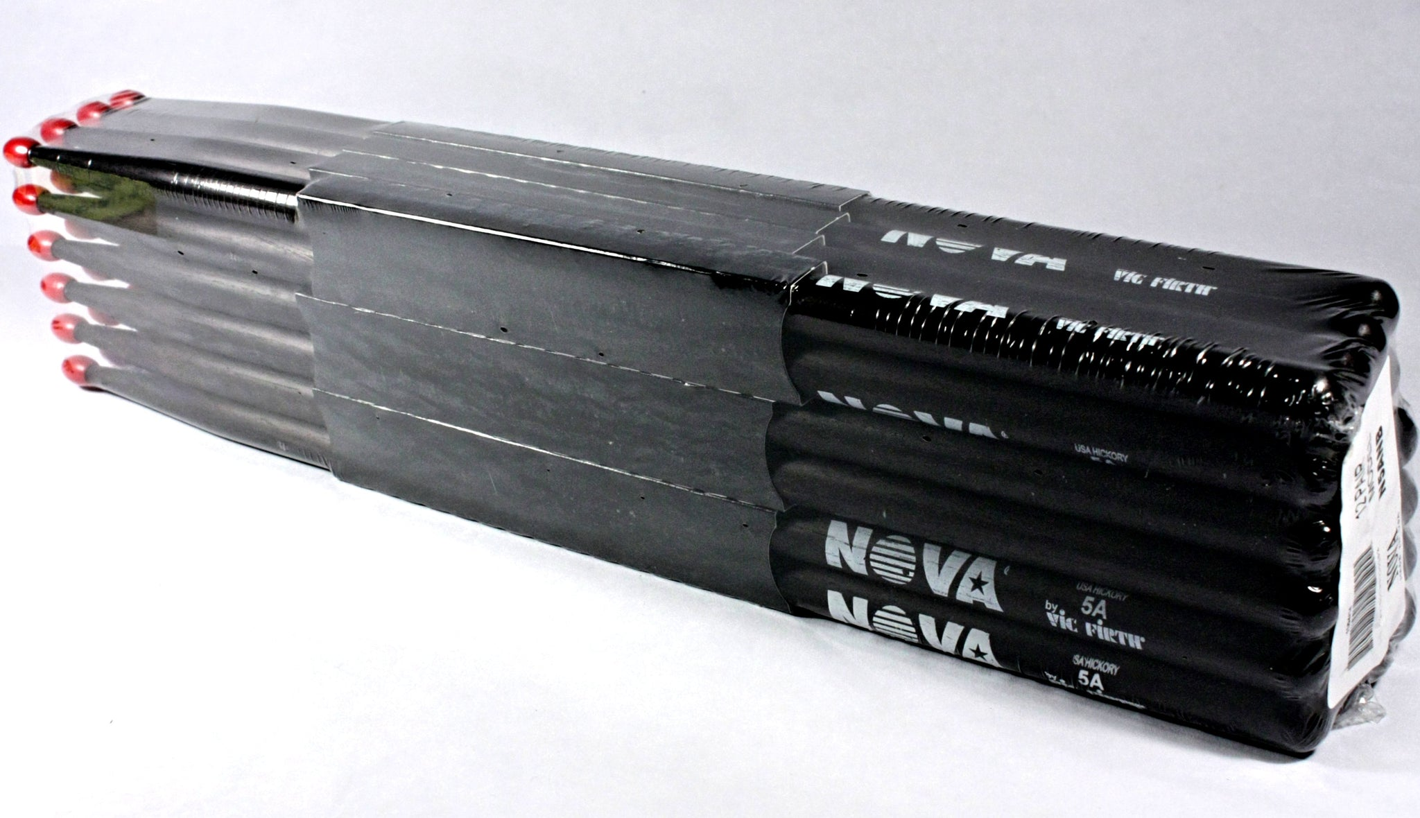 (12-Pairs) Vic Firth® NOVA® 5A Hickory Drumsticks, Black Sticks, Red Nylon Tip. #N5ANB