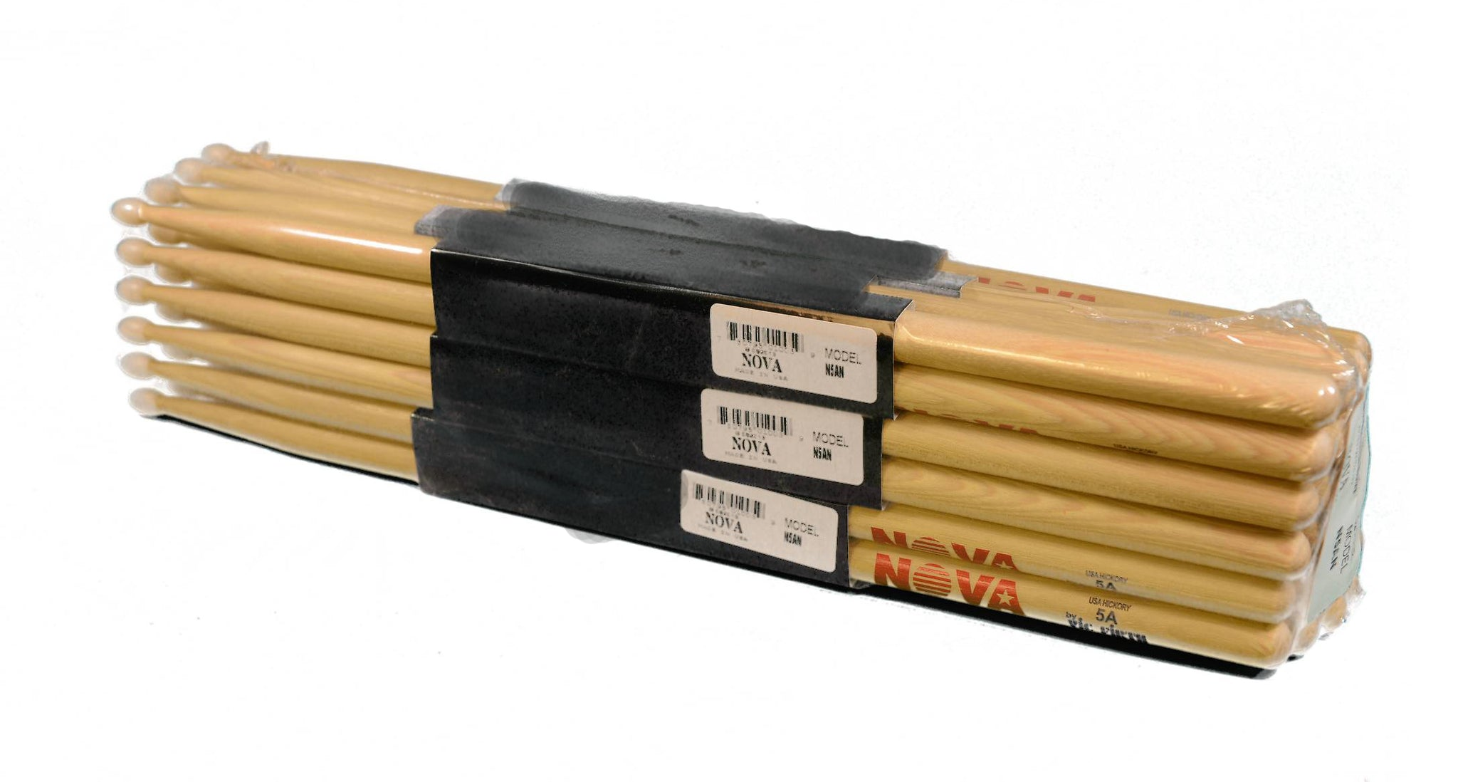 (12-Pairs) Vic Firth® NOVA® 5A Hickory Drumsticks, Wood Sticks, Nylon Tip. #N5AN